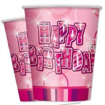Happy Birthday pink Partybecher Pappe 270ml 8er