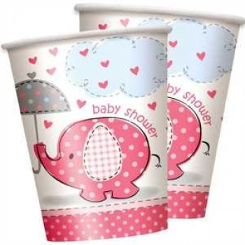 Baby Shower Elefant pink Partybecher Pappe 270ml 8er