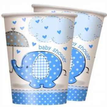 Baby Shower Elefant blau Partybecher Pappe 270ml 8er