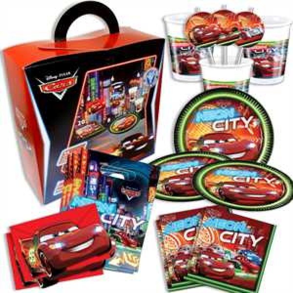Partykoffer Cars Neon 54-teilig