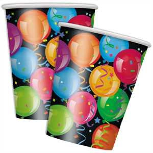 Happy Birthday Ballons Partybecher Pappe 270ml 8er